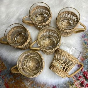 Vintage Wicker & Glass Coffee Cups Set of 6 Rattan